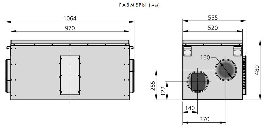 Компактные приточно-вытяжные установки с регенерацией тепла HERU 50 S, габаритные размеры