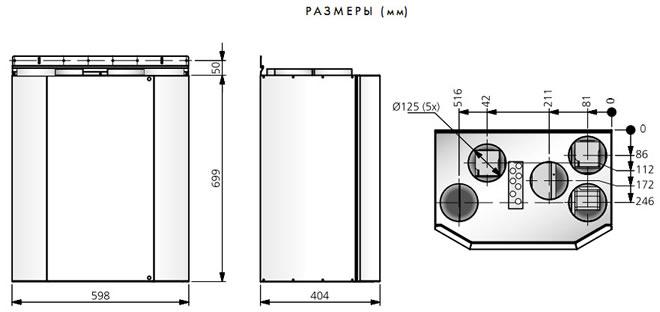 Компактные приточно-вытяжные установки с регенерацией тепла HERU 90 T, габаритные размеры